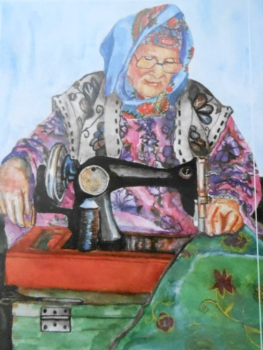 Post card depicting a Central Asian sewing a dress...by Aisulu Bektasheva (given to us by our new friend)