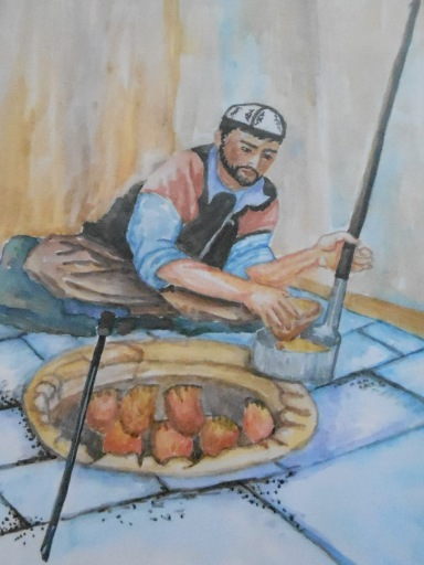 "The front of a greeting card given to us by our new friend...""Baking Samsa"" by Aisuluu Central Asia"