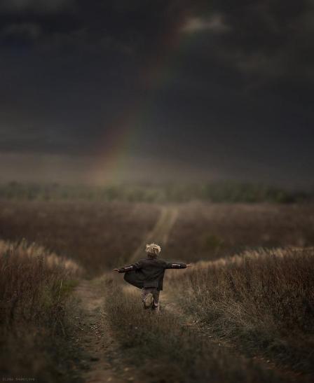 rainbow and child
