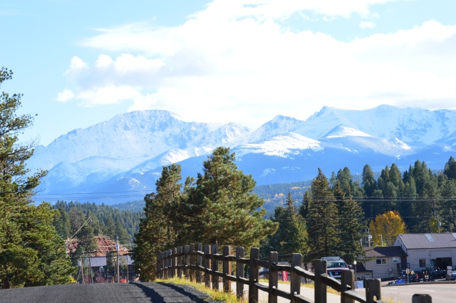 Pike's Peak from a little street in Woodland Park, Colorado.  (I don't like the power lines in the picture.)